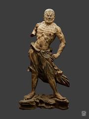 Kongo Rikishi (Vajrapani), Ungyo (bouche fermee). (sylvain.collet) Tags: museeguimetartsasiatique homme muscles asie chauve statue colere japon