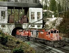 Glacier BC Monday April 30th 1973 1615PST (Hoopy2342) Tags: train rail railway railroad canadianpacific canadianpacificrailway glacier bc britishcolumbia tunnel connaught