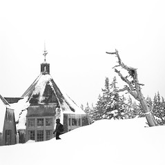 Timber-Time for Play (Aaron Bieleck) Tags: hasselblad500cm 120film analog 6x6 square film filmisnotdead hasselblad mediumformat wlvf timberlinelodge timberline snow winter snowshoeing sarah architecture trees oregon pnw pacificnorthwest outdoors 60mmct