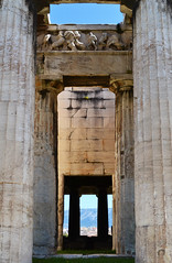 Τhe temple of Hephaestus | Ο ναός του Ηφαίστου (born to be an artist) Tags: architecture ancientgreek temple athens greece historic pillars columns flower harmony city history templeofhephaestus downtown sky doric perspective depth structure building marble sculpture pediment