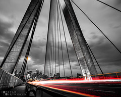 Anzac Bridge - Sydney, Australia (StefanKleynhans) Tags: anzac bridge sydney australia nikond850 nikon1635mmf4 nisifilters longexposure cars light lighttrails city cityscape blackandwhite selective colour