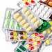 Multicolored tablets, capsules and pills in packages