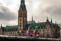 Robots in Hamburg (Ballou34) Tags: 2019 7dmark2 7dmarkii 7d2 7dii afol ballou34 canon canon7dmarkii canon7dii eos eos7dmarkii eos7d2 eos7dii flickr lego legographer legography minifigures photography stuckinplastic toy toyphotography toys stuck in plastic robot robots hamburg town hall sky clouds love