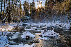 Winter Wonderland at the river Eger - Upper Franconia, Germany (dejott1708) Tags: winterwonderland winter wonderland landscape hdr eger river ohre upperfranconia germany snow sun backlight trees granite