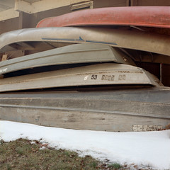 Winter Boats (jwbeatty) Tags: analog analogphotography boats carlzeisplanar80mmf28 hasselblad hasselblad500cm illinois kodak kodakfilm kodakportra400 mchenrydamstatepark portra400 winter