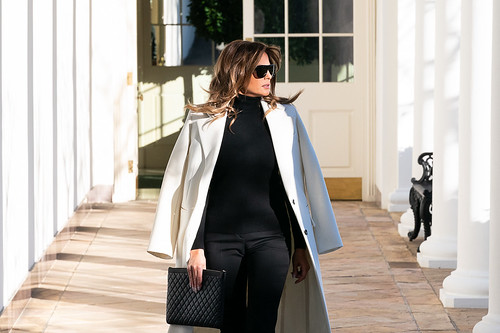First Lady Melania Trump on the Colonnad by The White House, on Flickr