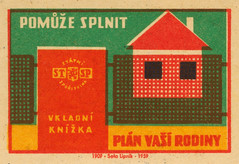 czechoslovakian matchbox labels (maraid) Tags: czechoslovakia czech czechoslovakian matchbox labels stsp savings bank building house home gate fence savingsbook 1950s 1959 label packaging