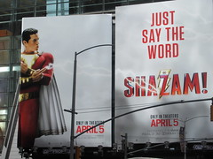 IMG_4455 (Brechtbug) Tags: shazam billboard 42nd street new captain marvel the big red cheese poster ad nyc 2019 times square movie billboards york city work working worker paint painting advertisement dc comic comics hero superhero alien dark knight bat adventure national periodicals publication book character near broadway shield s insignia blue forty second st fortysecond 03232019 lightning flight flying march