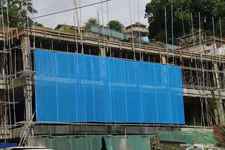 Blue Sheeting at the building site - Bandarawela Sri Lanka