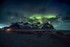 Celestial messenger (Sizun Eye) Tags: aurora auroraborealis northernlights europedunord iceland vestrahorn stokksnes night nightphotography sky beach mountain sizuneye nikond750 nikon1424mmf28 nikkor