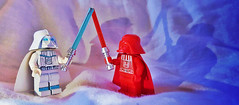 Redemption VS Protoype (OB1 KnoB) Tags: lego star wars minifigure custom red white darth dark vader vador snow battle redemption redemed prototype inifinities