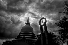 Peace Pagoda (Henrik Ladegaard-Pedersen) Tags: srilanka galle peacepagoda dramatic sky skies monochrome blackandwhite contrast beautiful