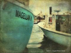 Magellan, Provincetown, MA (augenbrauns) Tags: olympusomdem1ii blue grungestyle grunge water macmillanwharf harbor wharf boats fishingboats capecod ptownma provincetownma creativecapecod