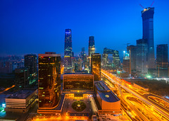Building in Beijing city in night time, Beijing (anekphoto) Tags: beijing city skyline night china cityscape business district central view sunset cbd chinese downtown buildings modern building financial architecture office urban scene high asian asia road landmark skyscrapers scenery famous evening place capital dusk international trade twilight metropolis metropolitan peking rises chaoyang finance skyscraper people sky travel landscape tower cctv