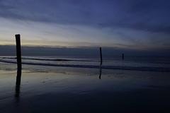 The begin of the blue hour on the Beach of Norderney (fynnspeckmann1) Tags: blue blau sunset light darkness wood mare sea meer water sand licht reflection reflektion northsea nordsee love mood bluehour blauestunde blaue stunde germany deutschland norderney nordseeinsel sky himmel clouds wolken