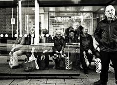 Bus Stop (Bury Gardener) Tags: monochrome mono burystedmunds bw blackandwhite britain england eastanglia uk 2018 nikond7200 nikon suffolk streetphotography street streetcandids snaps strangers candid candids people peoplewatching folks