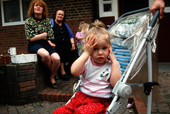 Kingsmead Estate Kid (hoffman) Tags: block child damp depression deprivation dereliction estate family female flat horizontal house housing infant lady london misery outdoors poverty pushchair sadness sitting street woman women young youth davidhoffman wwwhoffmanphotoscom uk