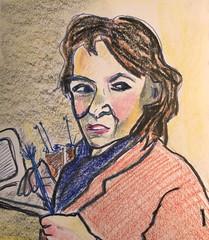 Marion, The Painter (Gila Mosaics n'stuff) Tags: portrait art aritst pen prismacolor jkpp portraitparty