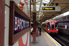 A Baron In Focus (gooey_lewy) Tags: day out london tfl underground tube northern line high barnet branch inspiration park station mind gap roundel people sign barons court enamel s7 stock district focus flur blur