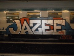 50556286_757844497922503_4677616583919534080_n (en-ri) Tags: jazee xviii 18 2018 train torino graffiti writing bianco indaco azzurro