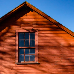 Red Workshop (davetherrienphoto) Tags: shadow shack portsmouth window peak tree afternoon newhampshire barn blue wooden sky red