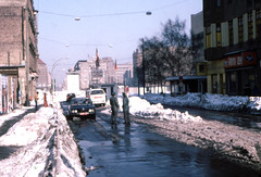 Checkpoint Charlie West Berlin  Feb 25 1979 (D70) Tags: checkpoint charlie west berlin feb 25 1979 friedrichstrase4345 ortsteilmitte snow street bmw volkswagen police