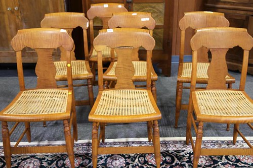 Set of 7 Tiger Maple Chairs ($ 224.00)