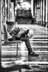 ... (cristian_dumitriu) Tags: streetphotography monochrome blackwhite urban sleep subway street