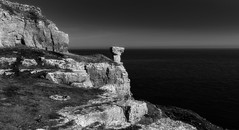 Balanced (paullangton) Tags: dorset jurassic rocks coast coastal mono bw blackandwhite monochrome st aldhelms rugged sky sea water contrast purbeck landscape seascape nature