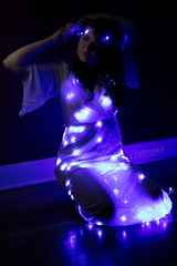 Alexa (austinspace) Tags: woman portrait spokane washington model led lights dress red blue purple fairy faerie
