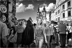 My Time is Now (Steve Lundqvist) Tags: valentina prague watch orologio time orario praga praha czech republic girl street church nikon d700 f28 24mm shorts top flower prints blonde woman square piazza architecture travel traveller travelling trip cecoslovacchia cechi people photography crowd tower light