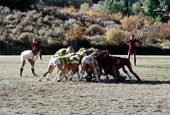 71-892 (ndpa / s. lundeen, archivist) Tags: nick dewolf nickdewolf color photographbynickdewolf 1975 1970s film 35mm 71 reel71 summer fall aspen colorado september ruggerfest aspenruggerfest 8thannual eighthannual rugby tournament women womensrugby woman youngwoman youngwomen player players jersey jerseys uniform uniforms girl girls game playing field rugbyfield scrum valley roaringforkvalley man official