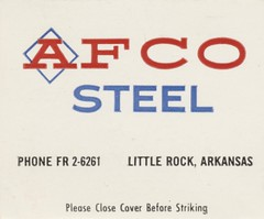 Arkansas Foundry Co. - Little Rock, Arkansas (The Cardboard America Archives) Tags: littlerock arkansas vintage matchbook matchcover