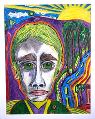 Unimpressed Man Watches Breathtaking Sunrise (Curtis Gaston) Tags: outsider art pastel pencil drawing