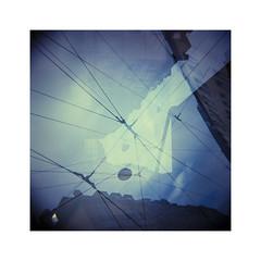 triple vision (Armin Fuchs) Tags: arminfuchs holga analog film mediumformat mittelformat 6x6 120mm tripleexposure square velvia100 diafilm diagonal blue sky house lamp lines clouds