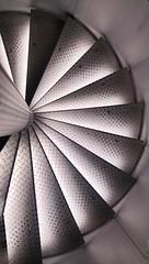 (Antiteilchen) Tags: schwarzweiss blackwhite stairway steel wendeltreppe stahl tränenblech treppe deutschland germany berlin museumfürfilmundfernsehen