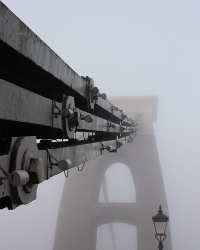 Clifton Suspension Bridge in fog