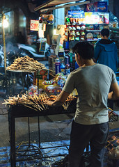 Chicken Feet (mrmeezoid) Tags: street food urban people vietnam hanoi travel asia man cook skewers chicken feet meat barbeque night streetphotography fan streetfood chickenfeet