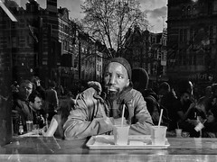 A brief respite (Rob Pearson-Wright) Tags: window thoughts shotoniphone iphone7plus iphoneography blackandwhite bw man reflection candid england london uk streetphotography street
