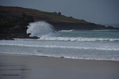 3KB13344a_C (Kernowfile) Tags: pentax conwall cornish stives porthmeorbeach sea waves breakingwaves spray foam spindrift rocks sky cliffs manshead clodgy