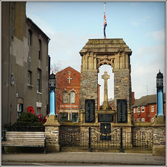 War Memorial (Jason 87030) Tags: war remember remembrance lestweforget poppies battle structure leicestershire brave hero scene uk town bench poppy blue sky flag england square border wall church fence market st street