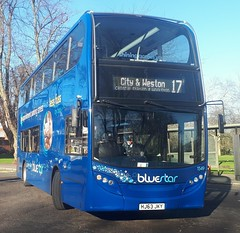 Bluestar 1549 is turning onto Vincent's Walk from Pound Tree Road while on route 17 to City and Weston. - HJ63 JKY - 9th January 2019 (Aaron Rhys Knight) Tags: bluestar 1549 hj63jky 2019 vincentswalk poundtreeroad southampton hampshire goahead gosouthcoast alexanderdennis enviro400