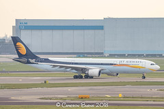 """Jet Airways VT-JWR A330-300 (IMG_1165) (Cameron Burns) Tags: jetairways jet airways 9w vtjwr airbus airbus330 airbus330300 airbus333 a330 a330300 a333 blr kempegowda bengaluru bangalore karnataka india blue white yellow orange amsterdam schiphol airport amsterdamschipholairport """"amsterdam schiphol"""" ams eham airfield aviation aerospace airliner aeroplane aircraft airplane plane canoneos80d canoneos eos80d canon80d canon eos 80d netherlands holland dutch haarlemmermeer """"luchthaven luchthaven europe action"""