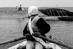 DSCF6646 (koushiksinharoy1) Tags: varanasi india bnw bw horse people boat water river land side lines morning