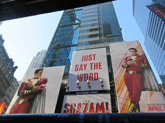 Shazam The Big Red Cheese Billboard 42nd St NYC 4343 (Brechtbug) Tags: shazam billboard 42nd street new captain marvel the big red cheese poster ad nyc 2019 times square movie billboards york city work working worker paint painting advertisement dc comic comics hero superhero alien dark knight bat adventure national periodicals publication book character near broadway shield s insignia blue forty second st fortysecond 03202019 lightning flight flying march