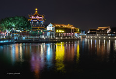 Night in Suzhou (pietkagab) Tags: suzhou china water river canal temple pagoda reflection reflections chinese asia asian dark black buildings building architecture ancient old oldtown pietkagab photography pentax piotrgaborek pentaxk5ii travel trip tourism sightseeing adventure