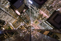 equal.and.apposite (jonathancastellino) Tags: roof rooftop rooftopping night toronto leica m reflection down pattern apposite building cbd