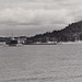 SHIP Frankfort Elberta MI AARR RPPC AARR STEAMER CAR FERRY No. 5 or 7 OUTBOUND CLEARING THE STUB PIER HARBOR VIEW Ann Arbor Railroad Yard and Docks before the OLD TAR PLANT2