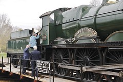 "Prue Leith is helped into the cab of ""Lady of Legend"" after cutting the inaugural tape (Derningtona) Tags: prueleith ladyoflegend saintclass didcotrailwaycentre"
