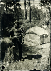 Axe Man (Blurmageddon) Tags: 5x7 largeformat wetplatecollodion alternativeprocess alumitype tintype newguycollodion camping outdoor nature portrait epsonv700